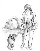 Drawing of a woman walking her dog near some trees.